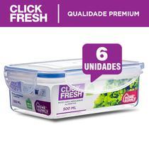 Kit com 6 potes herméticos de alta qualidade Click Fresh -