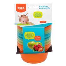 Kit com 6 Potes para Papinha Azul Laranja e Verde - Buba - Buba toys