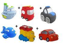 Kit com 6 Veículos de Transporte Diferentes Brinquedo de Vinil para Bebê a Partir de 3 Meses - Maralex