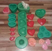 Kit com 7 formas moldes de silicone para sabonetes artesanais - Jj Artesanato