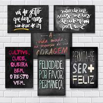 Kit Com 7 Placas Em Mdf - Frases Motivacionais - R+ Adesivos -