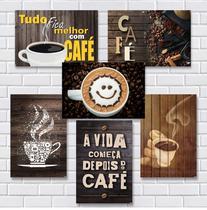 Kit Com 7 Placas Em Mdf - Tema Café - R+ Adesivos -