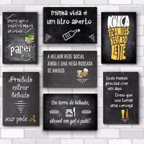 Kit Com 7 Placas - Mdf - 30x20cm - Frases De Boteco Cerveja - R+ Adesivos