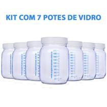 Kit com 7 Potes de Vidro para Armazenar Leite Materno 200ml Com Graduação - Super Mamãe