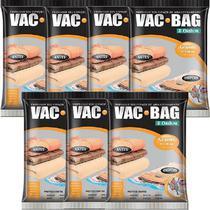 Kit com 7 Sacos À Vácuo VAC BAG Ordene Grande 55X90 Protetor Roupas -