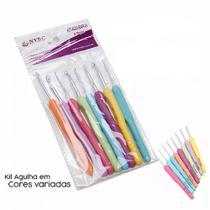 Kit Com 8 Agulhas Crochê Alumínio Plástico Coloridas NYBC -