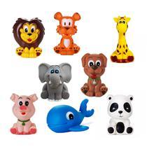 Kit Com 8 Brinquedos De Vinil Para Bebê Maralex - Leão, Elefante, Girafa, Tigre, Porco, Baleia, Panda e Cachorro. -