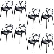 Kit com 8 Cadeiras Allegra de Polipropileno Preta - 173 DPP - Atacadeiras