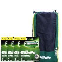 Kit com 8 Carga Gillette Mach3 Sensitive + Brinde Porta Chuteira -