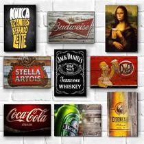 Kit com 9 placas decorativas em mdf - Bebidas - Cerveja - Churrasqueira - Retrô - Vintage - R+ Adesivos