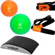 Kit com Abmat para Abdominal + Corda de Pular + Bolas de Peso de 1 e 2 Kg  Liveup -