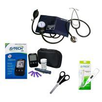 Kit com Aparelho de Glicose, Pressão, Termômetro e Tesoura - Premium / Descarpack