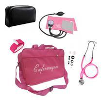 Kit com Aparelho de Pressão Arterial Mais Vendido Rosa - Premium