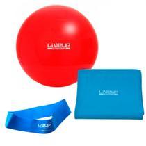 Kit com Bola 45 Cm + Faixa Elastica Forte + Mini Band Forte Azul  Liveup -