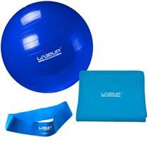 Kit com Bola 65 Cm + Faixa Elastica Forte + Mini Band Tensao Forte Azul  Liveup -