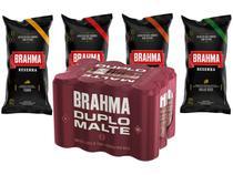Kit com Cerveja Brahma Duplo Malte 350ml - com 4 Pacotes de Salgadinho Brahma