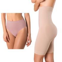 Kit com Cinta Loba Bermuda Skin Compression e Calcinha Loba Redutora Nude Slim - Lupo -