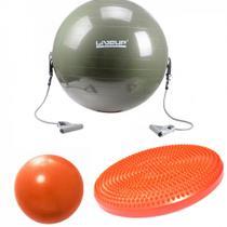 Kit com Disco de Equilibrio + Bola 65 Cm com Extensor + Over Ball 25 Cm  Liveup -