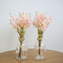 Kit com Dois Arranjos de Mini Rosas no Vaso de Vidro  Linha Permanente Formosinha -