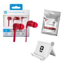 Kit com Fone de Ouvido intra HP + Suporte universal de celular + Lenço de limpeza - C3 TECH