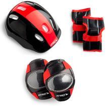 Kit Com Joelheiras capacete luvas e cotoveleiras de Criança - Atrio