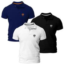 Kit com Três Camisas Polo Piquet Regular Fit Brasão - POLO Match
