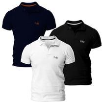 Kit com Três Camisas Polo Piquet Regular Fit - POLO Match -