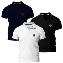 Kit com Três Camisas Polo Piquet Slim Fit Brasão - POLO Match