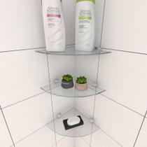 Kit com tres Prateleira para banheiro de canto 20 cm vidro temperado - E-Nichos