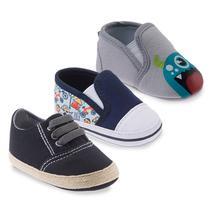 Kit com Três Sapatos Masculino Azul, Cinza e Preto - Pimpolho -