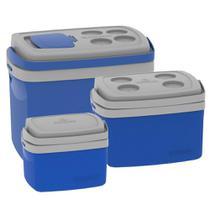 Kit combo 3 Caixa Térmica 32, 12, 5 L Azul Cooler - Soprano -