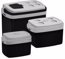 Kit Combo 3 Caixa Térmica 32, 12, 5 L Preto Cooler - Soprano -