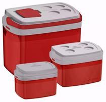Kit Combo 3 Caixa Térmica 32, 12, 5 L Vermelho Cooler - Soprano -