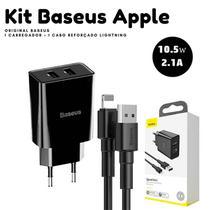 Kit combo carregador turbo baseus para iphone 5 5s 6 7 x xr -