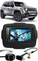 Kit Combo DVD Pioneer AVH-G218BT + Moldura de Painel 2 Din + Câmera de Ré Jeep Renegade 2015 2016 2017 2018 2019 -