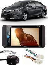 Kit Combo DVD Pioneer AVH-G228BT + Moldura de Painel 2 Din + Chicote + Câmera de Ré Toyota Corolla GLI 2015 2016 2017 -