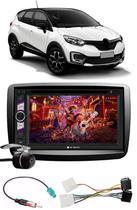 Kit Combo DVD Player E-Tech + Moldura de Painel 2 Din + Chicote + Câmera de Ré Renault Captur -