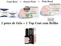 Kit COMBO Gel Volia Capa base + Classic Pink + Pink Hard Uv Led Unhas + Top Coat a escolher -