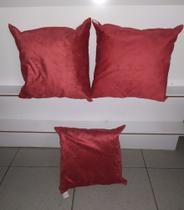Kit Combo Jogo 3 Almofadas Cheia Sued Decorativas Sala Sofa Vermelha 40x40 - Ecoflex