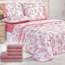 Kit Combo Premier Cobre Leito Casal Micro Percal 200 Fios + Toalhas de Banho 8 Peças - Rosa Florido - Casa Scarpa