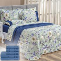 Kit Combo Premier Cobre Leito Queen Micro Percal 200 Fios + Toalhas de Banho 8 Peças - Azul Flowers Flores - Casa Scarpa