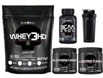 Kit Combo Suplementos Whey Protein + Creatina + Glutamina + BCAA + Brinde - Black Skull
