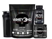 Kit Combo Suplementos Whey Protein + Glutamina + BCAA + Brinde - Black Skull -