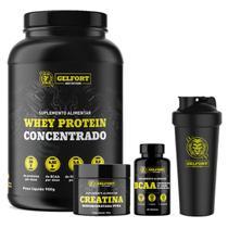 Kit Combo Whey Protein + Creatina + BCAA + Shaker - Gelfort Nutrition