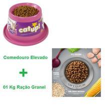 Kit Comedouro Elevado + 01 Kg Ração Optimum Granel Sabor Frango -