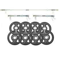 Kit Completo 3 Barras + 6 Presilhas + 20 Kg de Anilhas - Sepo - Pesos