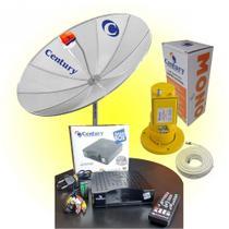 Kit Completo Antena Parabólica Century 1,5m e 2 Receptores Nanobox -