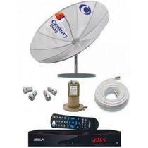 Kit Completo Antena Parabólica Century + Receptor Analógico E Digital + Lnbf + Cabo -