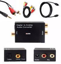 Kit Completo Aparelho Conversor de Áudio Digital Optico P/ Analógico RCA AV P2 Toslink Cabos - Mxt