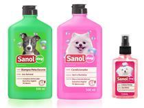 Kit completo banho cães: Shampoo para Cães Pelos Escuros + Condicionador Revitalizante + Perfume colônia Femea - Sanol Dog -